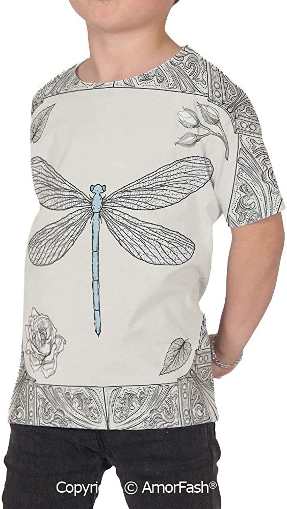 Dragonfly Distinctive Childrens Premium Polyester T-Shirt,XS-2XL,Hand Drawn Roy