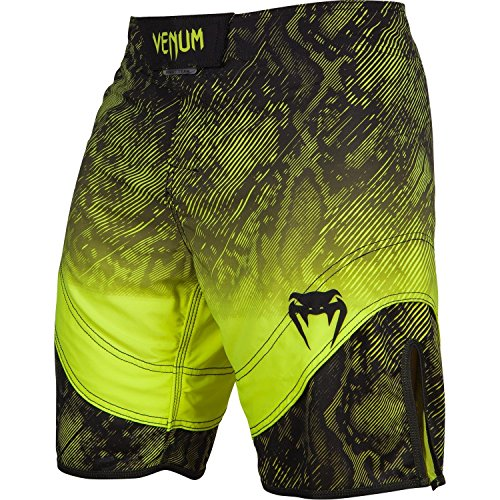 (Venum Fusion Fight Shorts, Large, Black/Yellow)