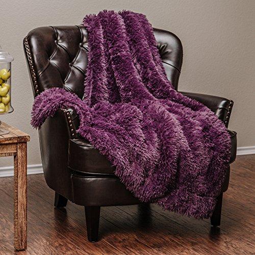 Chanasya Super Soft Long Shaggy Chic Fuzzy Fur Faux Fur Warm Elegant Cozy With Fluffy Sherpa Purple Microfiber Throw Blanket (50