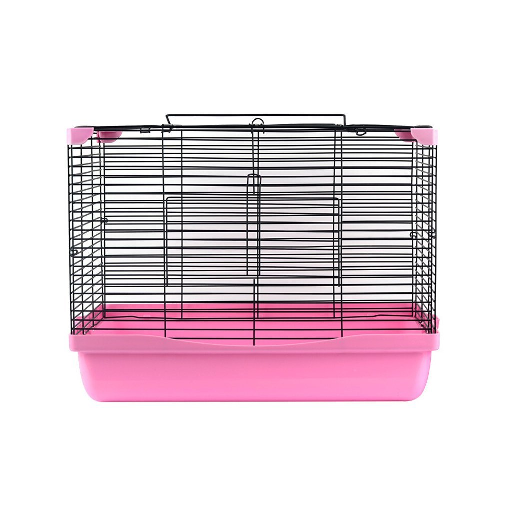 D Small Animal Grid Metal Cage Hamster Hedgehog Hamster Wire Cage Foldable and Easy to Carry Pink Size  47X32X35cm (Size   D)