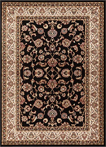 Black Transitional Rug - Noble Sarouk Black Persian Floral Oriental Formal Traditional Area Rug 5x7 ( 5'3