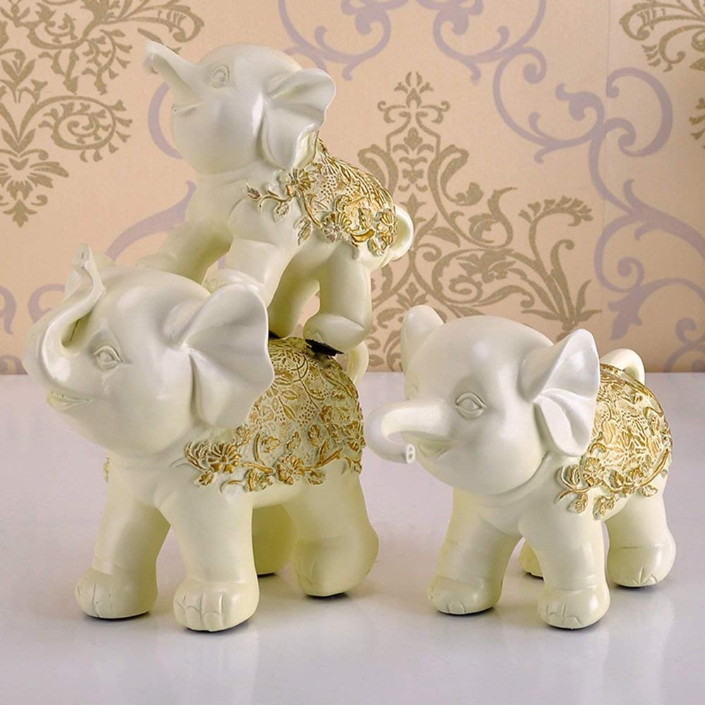 Decoration 3 Pieces Elephant Ornaments, Creative Resin Carving Decorations Living Room Bedroom Crafts Decorations Decoration (Color : Beige)