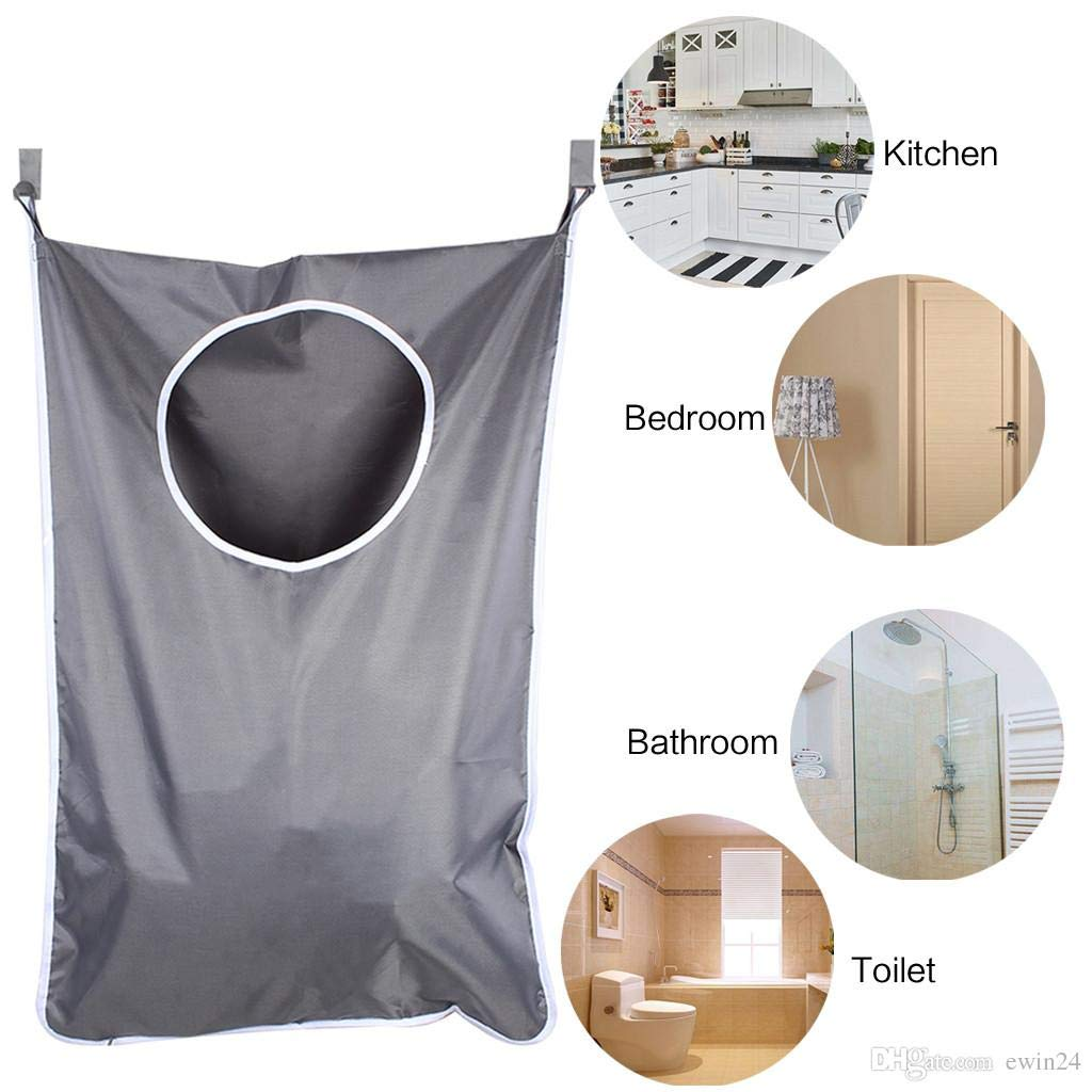 Saving Space TraderPlus Hanging Laundry Hamper Bag with Door Hooks for Holding Dirty Clothes