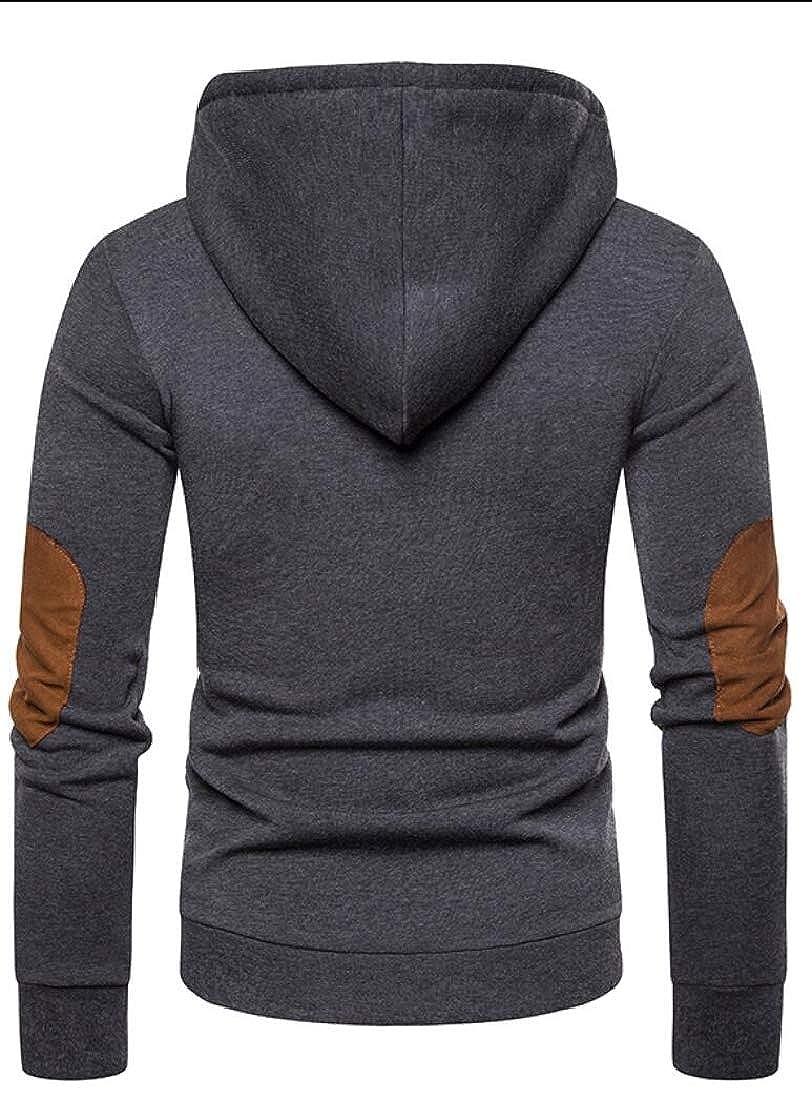 Keaac Mens Button Drawstring Long Sleeve Hoodies Sweatshirts