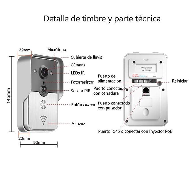 Interfono Portero Automático de Conexión Inalámbrica con función Vigilancia. Unidad Exterior Impermeable con Visión Nocturna. Abrir la puerta con Móvil a ...