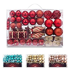 AMS 72ct Christmas Ball Assorted Pendant Shatterproof Ball Ornament Set Seasonal Decorations with Reusable Hand-Help Gift Boxes Ideal for Xmas, Holiday and Party... 64
