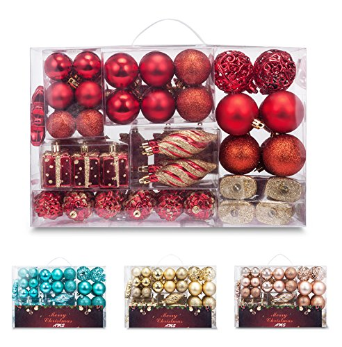 Set Shatterproof Ornament - AMS 72ct Christmas Ball Assorted Pendant Shatterproof Ball Ornament Set Seasonal Decorations with Reusable Hand-Help Gift Boxes Ideal for Xmas, Holiday and Party (72ct, Red)