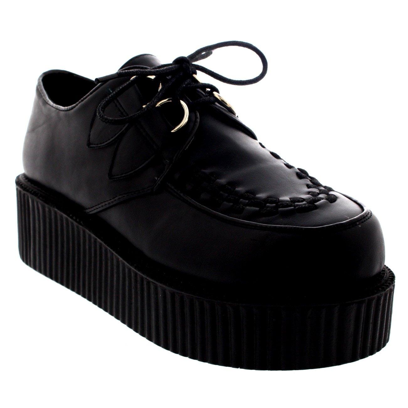 a324b8a7f1d0d Viva Womens Double Platform Punk Goth Flatform Brothel Creepers Retro Shoes