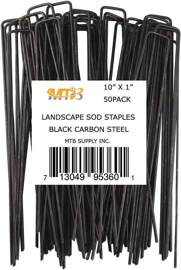 MTB 50 Pack 10x1 inch 11GA(0.12inch) Sod Staples Garden Pins Netting Stakes Ground Spikes Landscape Cover Pegs Carbon Steel Black
