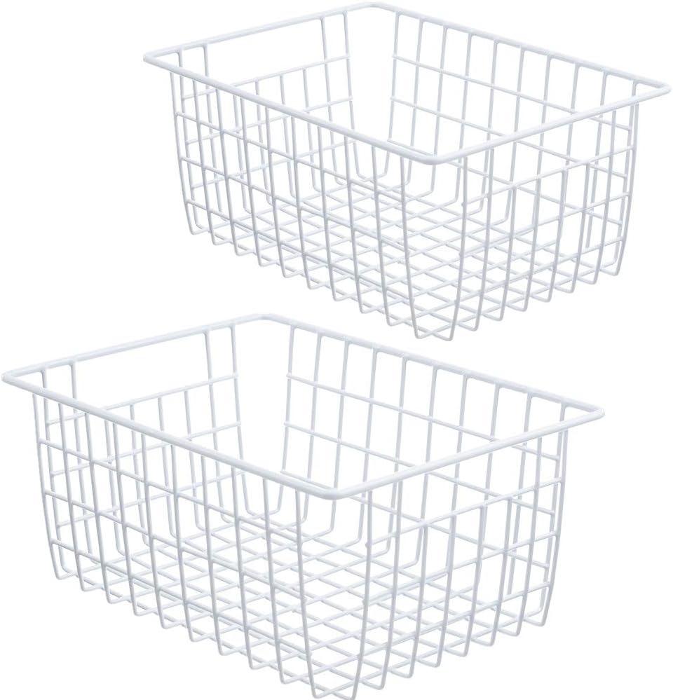 MOHICO Wire Storage Basket, 2 Pack Metal Household Storage Organizer Bin with 4 Built-in Handles for Pantry, Shelf, Freezer, Kitchen Cabinet, Bathroom