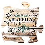This is Our Happily Ever After 12 x 12 inch Wood Puzzle Piece Wall Sign Plaque