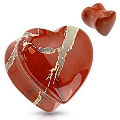 Amazon.com: Forma de Corazón jaspe rojo piedra natural ...