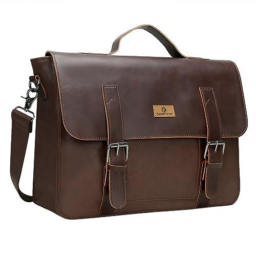 Koolertron Mens Messenger Bag Waterproof Vintage Synthetic Leather  Briefcase14in Laptop Crossbody Shoulder Bag (Coffee) 473c458481b11