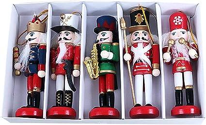 5pcs Peint à La Main 12cm Bois Casse-noisette Batteur Soldat Figure Noël