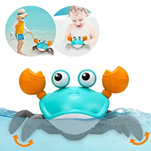 Amphibious Baby Toys, Beach Crab Bath Toys & Pull Toys for Toddlers 1-3, Clockwork Bathtub Toys for Kids,Push and Pull Baby Toys for 1 2 3 Year Old Boys & Girls, Walking Toys