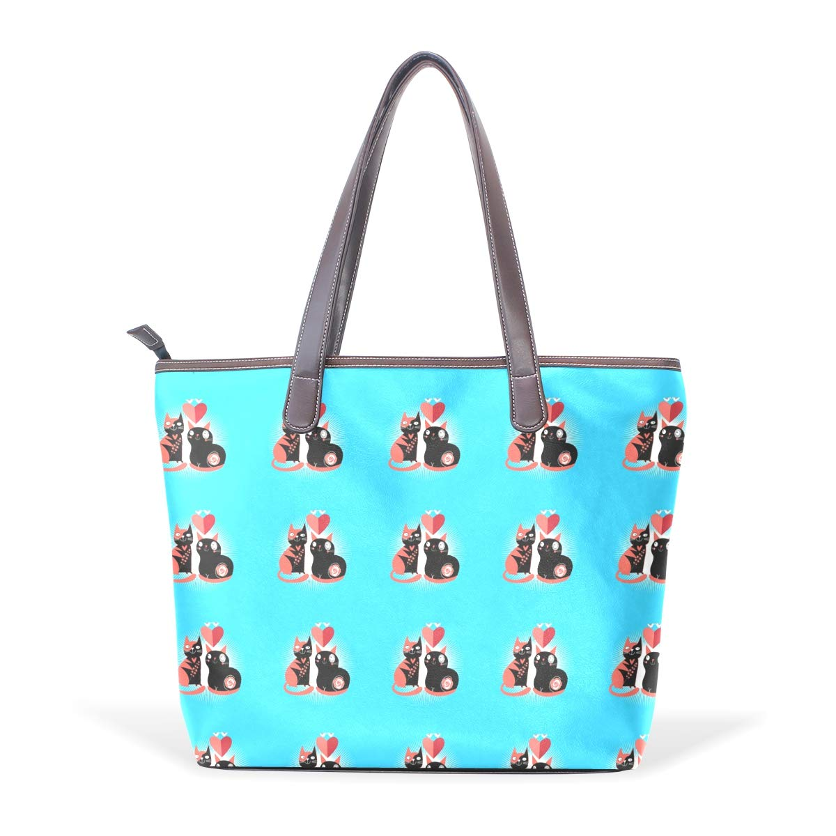Womens Leather Cats Lovers Handbag Satchel Tote Bag Tote Purse