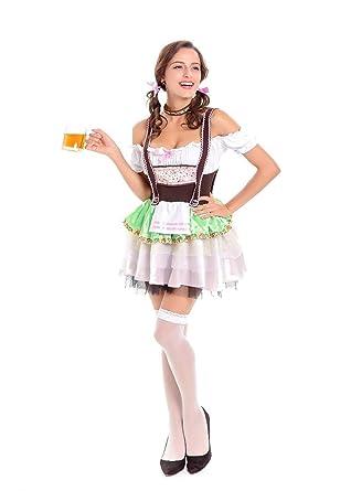 c07795095f Amazon.com  Tiaoqi Women s German Dirndl Dress Lace Costumes for Bavarian  Oktoberfest Carnival Halloween  Clothing