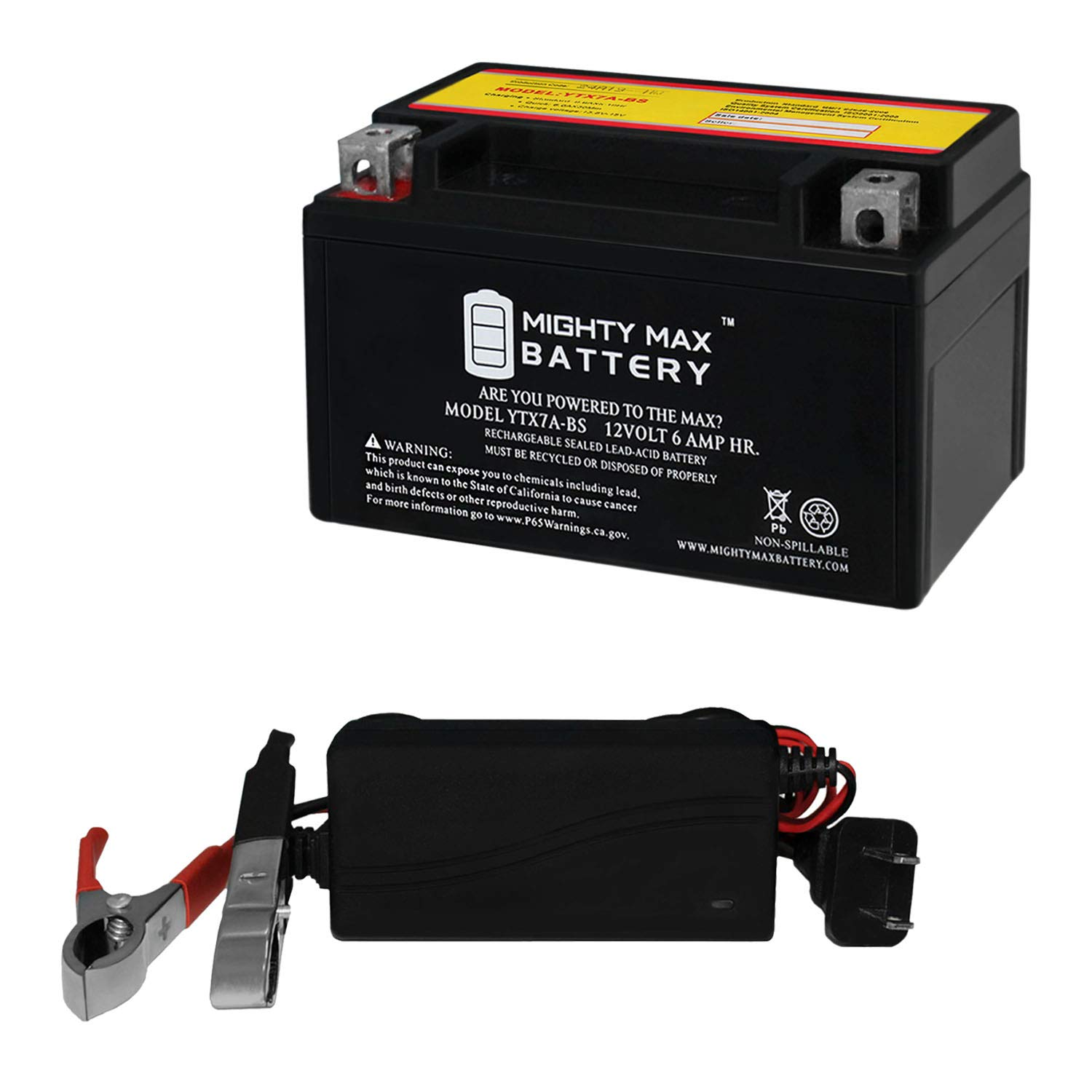 Mighty Max Battery YTX7A-BS SLA Battery Replaces Tao Tao 50CC Scooter 09 + 12V 1A Chargr Brand Product by Mighty Max Battery
