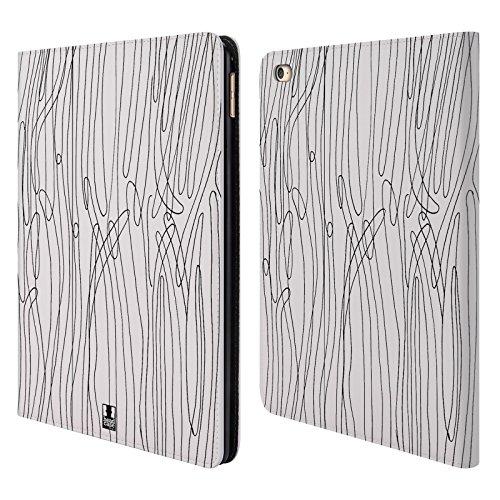 Head Case Designs Piante Di Mare Doodle Pattern Bianchi E Neri Cover a portafoglio in pelle per Apple iPad Air 2