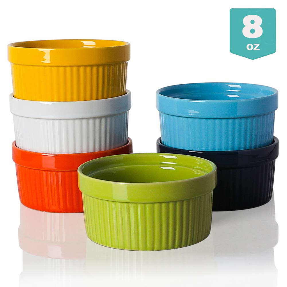 Sweejar Ceramics Souffle Dishes, Ramekins, 8 oz for Baking,Pudding,Creme Brulee,Souffle - Set of 6 by Sweejar