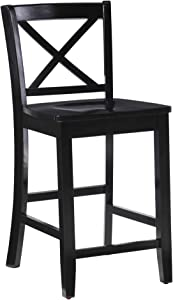 "Linon Home Dcor Black X Back Counter Stool, 16"" W x 17.91"" D x 37.01"" H"