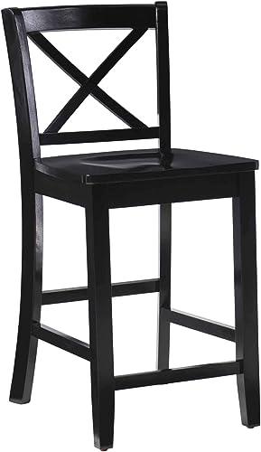 Linon Home Dcor Black X Back Counter Stool, 16 W x 17.91 D x 37.01 H