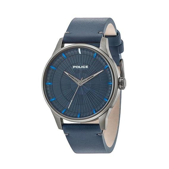 Police Reloj Análogo clásico para Hombre de Cuarzo con Correa en Cuero 15038JSU/03: Amazon.es: Relojes