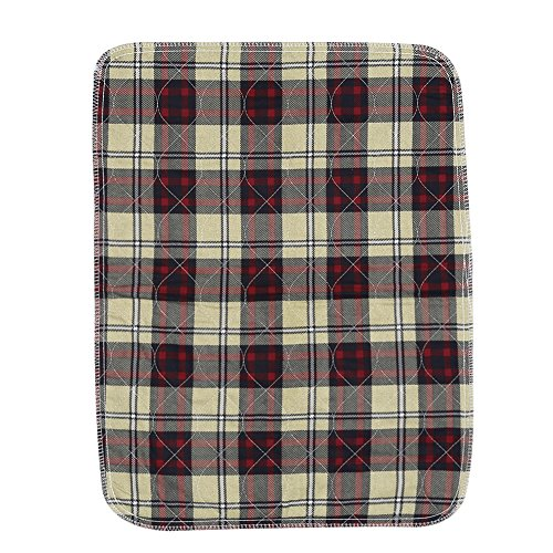 Plaid Waterproof Reusable Nappy, Breathable Underpads Mattress Pad Sheet, Quilted Washable Thickening Large Dog / Puppy Training Travel Pee Pads(Deep Red Plaid)