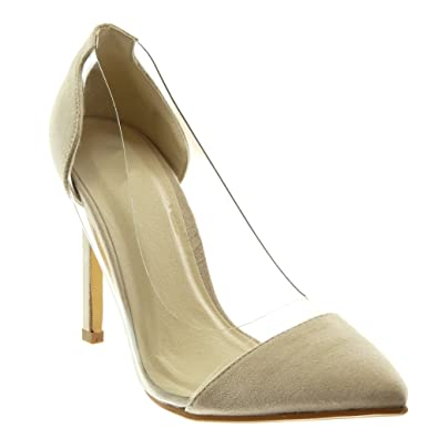 Angkorly Damen Schuhe Pumpe - Slip-on - Dekollete - Stiletto - Transparent Stiletto High Heel 10.5 cm - Wassergrün JM-80 T 37 OcGhMN