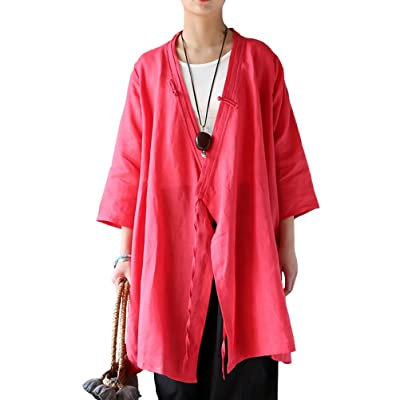 Aeneontrue Women's Half Sleeve Linen Irregular Long Cardigans Coat Red at Amazon Women's Clothing store