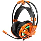 Gaming Headset, Kmeets Over Ear Headphones with Mic, Wired Noise Isolation Adjustable Microphone, 7.1 Surround Stereo Sound, LED Light/Volume Control Computer Gaming Headset - Orange