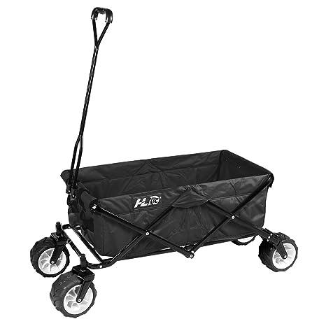 HLC Carro de mano plegable - Carro de transporte de jardín con funda,color negro