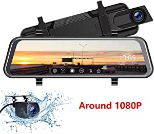 "Mirror Dash Cam - 10"" Full Touch Screen Dash Camera, 1080P Front & Rear Dual Lens Video, Waterproof Streaming Media Parking Monitor Reversing Backup Camera with Night Vision"