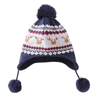 LAPLBEKE Enfants Bébé Chapeaux Casquette Hiver Tricoté Pompom Bonnet  Broderie Beanie pour Garçons Filles Casquette 1 b18a84d08c2