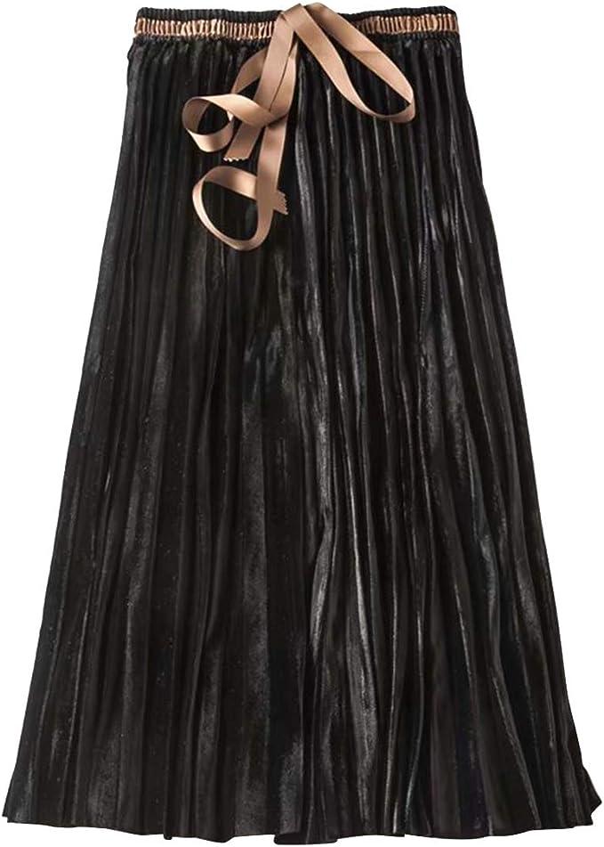 Umvyendt Falda Larga de Terciopelo A Line Vintage Tie Cintura ...