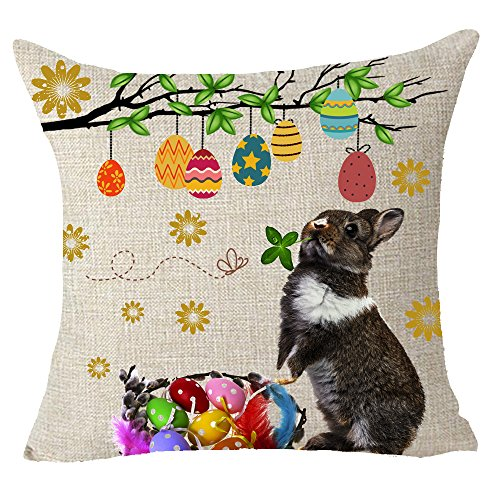 Bunny Throw (Happy Easter gift tree leaves colored eggs animal bunny rabbit Throw Pillow Cover Cushion Case Cotton Linen Material Decorative 18x18 inches)