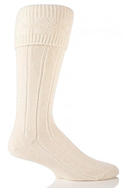 Glenmuir - Calcetines de lana para las falda escocesa para hombre (1 Par)-Cream-45-47: Amazon.es: Ropa y accesorios