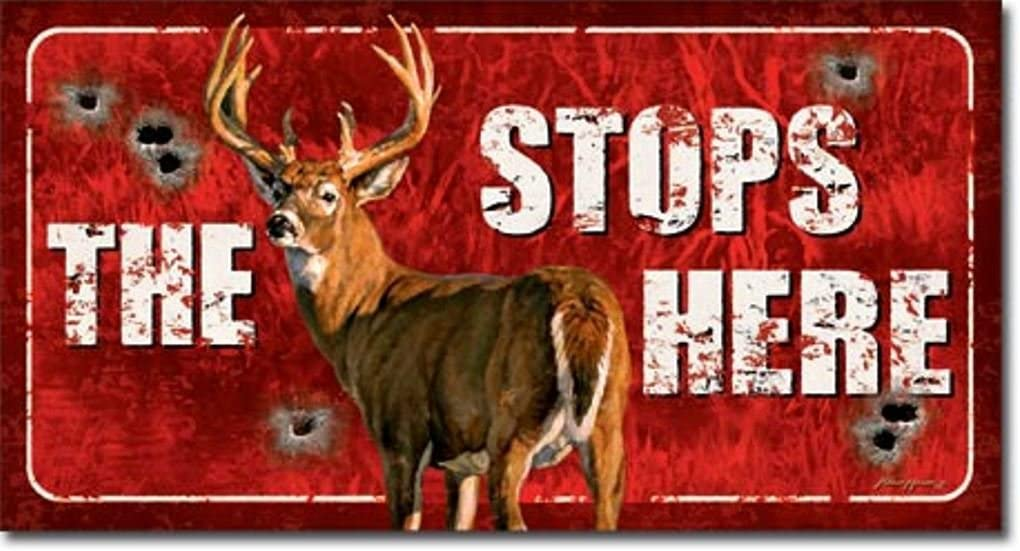 The Buck Stops Here Deer Hunting Distressed Look Tin Collectible Sign Gift