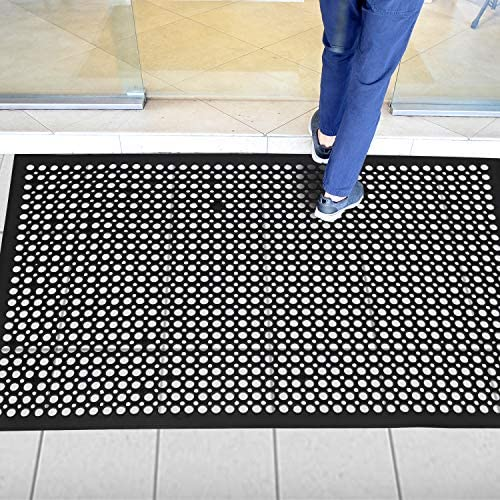 Rubber Door Mat Anti-Fatigue Floor Mat for Kitchen 36 x 60 New Commerical Heavy Duty Mat for Resturant Non-Slip Bar Floor Mat Garage Garden Industral Indoor Use Bath Mat Black