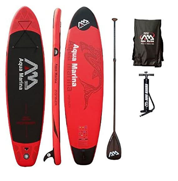 Aqua Marina Monster - Set de tabla y accesorios para SUP, 330 x 75 x 15 cm, AM Stand Up Paddelboard inkl. Pumpe, Finne, Paddel & Tragetasche: Amazon.es: ...