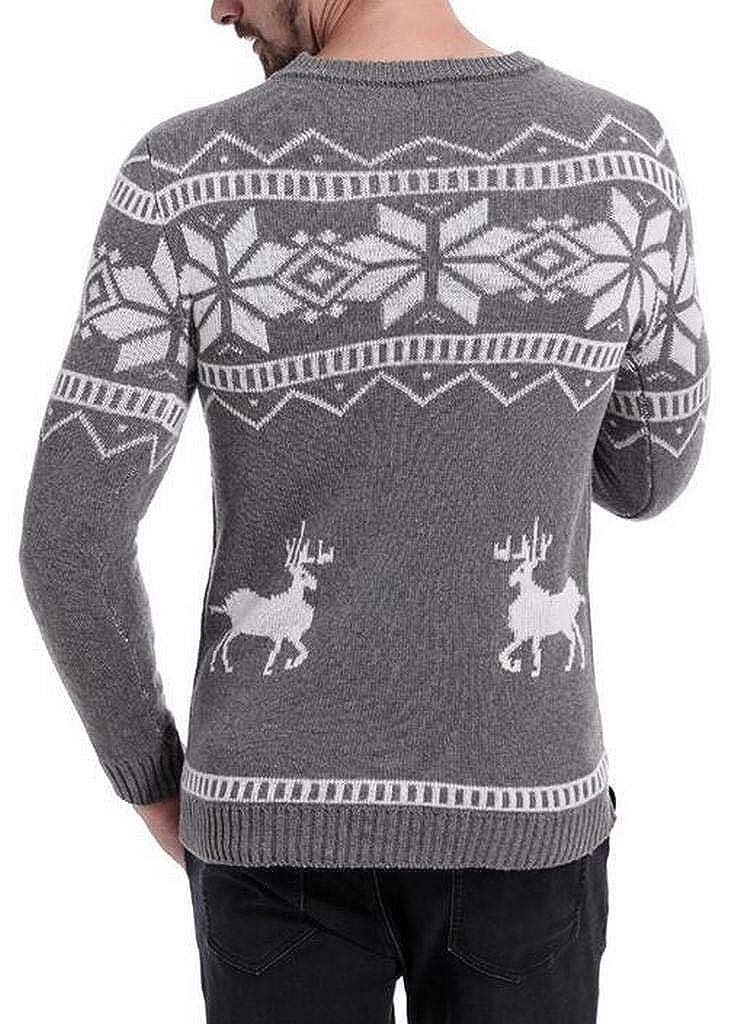 Jotebriyo Mens Elk Christmas Knitted Casual Print Pullover Sweater Jumper Top