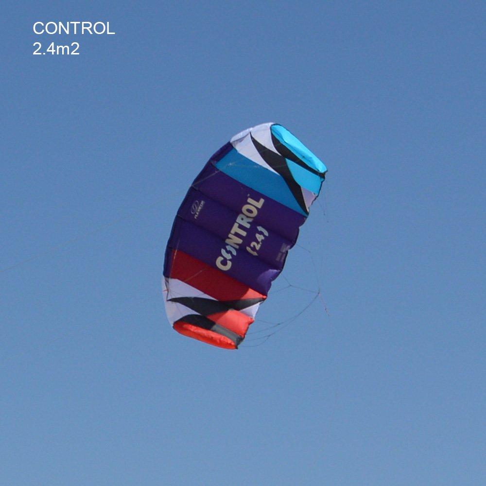 Cerf-volant de traction d/'entra/înement /à 3 lignes Control de Flexifoil 2.4m2 Cerf-volant de traction d/'entra/înement /à 3 lignes Control avec barre lignes et syst/ème de s/écurit/é /à rel/â