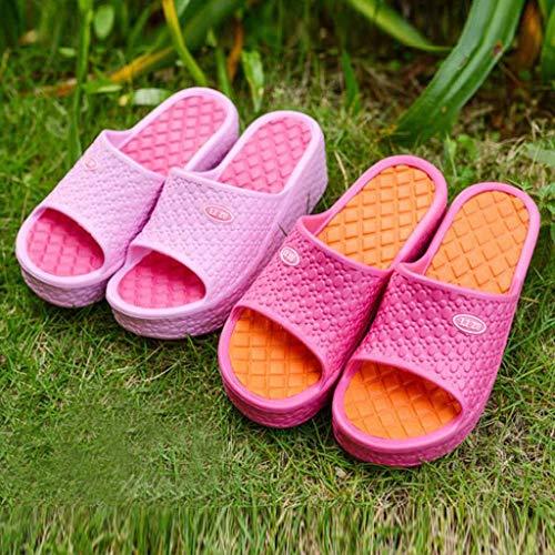 Air Chaussures Antidérapant Femmes Rond Piscine Vacances Bout Chaussons Jardin Bonbon Fond Plateforme Plage Plein Rose Pour Couleur Sandales Épais Pantoufles Ouvert wgFqa