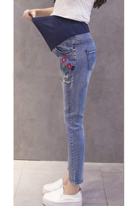 BIRAN Pantaloni Jeans Premaman in Denim Elasticizzato vestibilit/à con Slim Grazioso Fit Ricamati E Pantaloni Multi-Tasca da Esterno