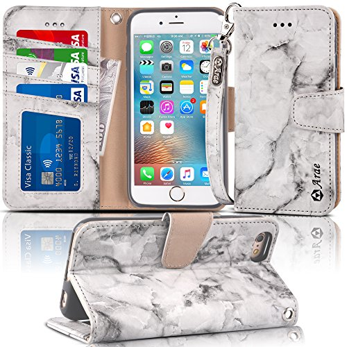 Arae Case for iPhone 6s / iPhone 6, Premium PU Leather Wallet case [Wrist Strap] Flip Folio [Kickstand Feature] with ID&Credit Card Pockets for iPhone 6s / 6 4.7 inch (Marble Gray)