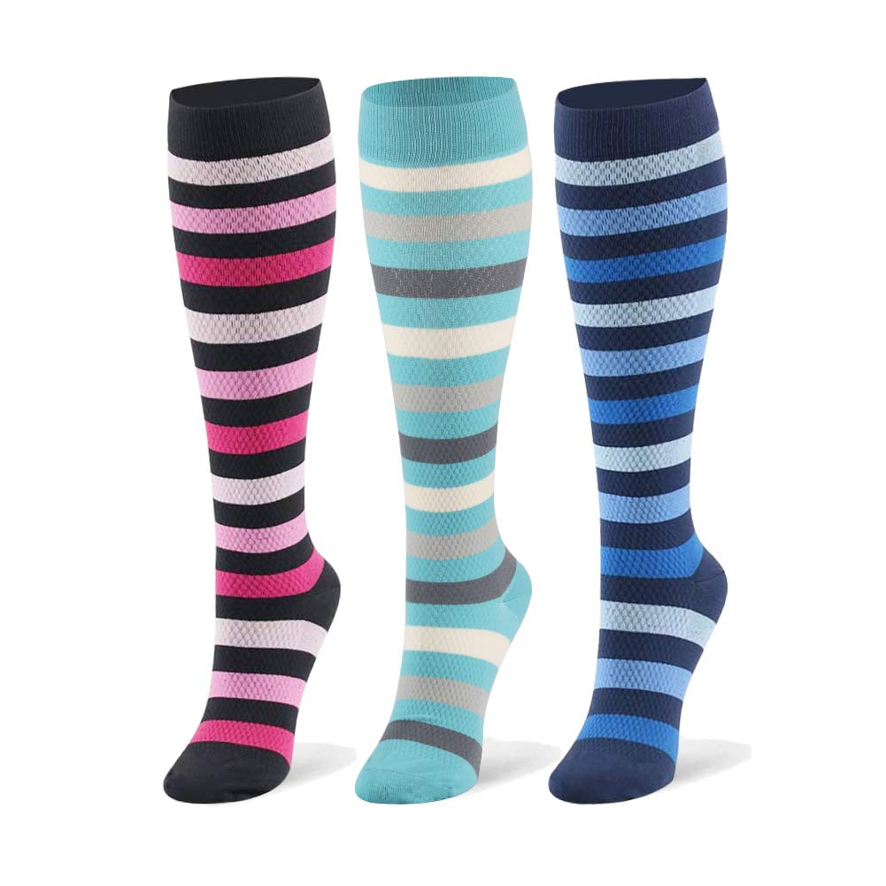 Compression Socks for Men & Women - 20-30mmHg 2 to 6 Pairs Compression Stockings for Runners, Edema (Small/Medium, Stripe, 3 Pairs)