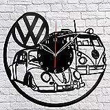 """""""Handmade"""" Volkswagen Retro Car Vinyl Record Wall Clock Fan Art Decor Original Gift Unique Decorative Vinyl Clock Black 12″ (30 cm) Review"""