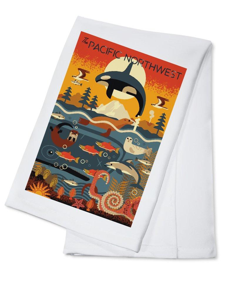 Pacific Northwest - Marine Animals - Geometric (100% Cotton Kitchen Towel)