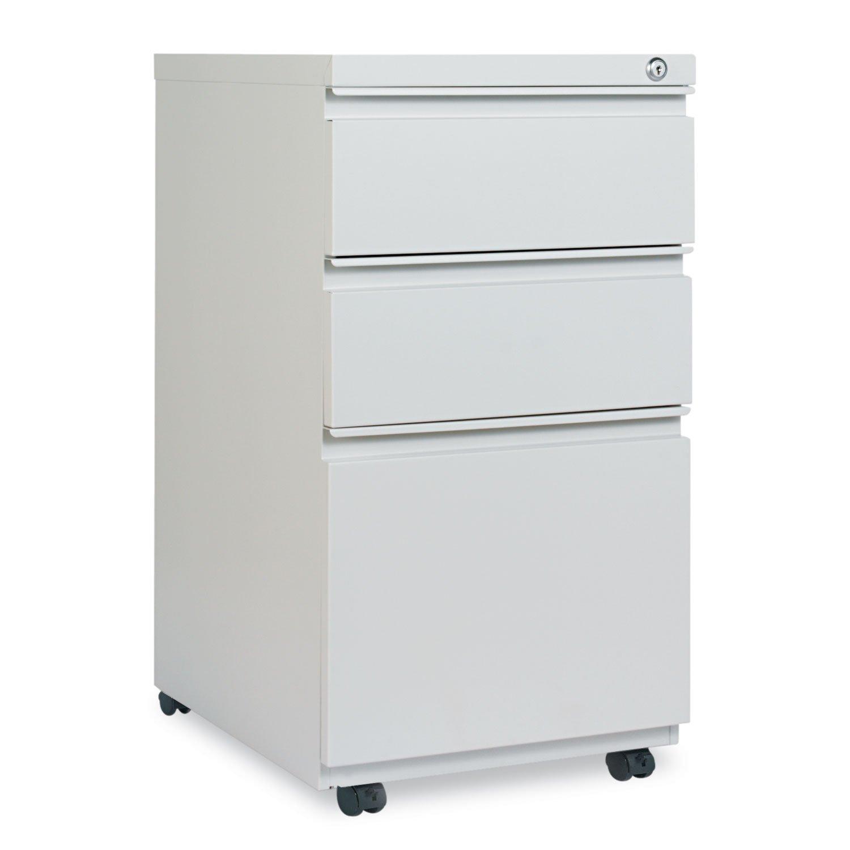 Alera PB53-2819LG PB532819LG Three-Drawer Pedestal File With Full-Length Pull 14-7/8 x 19-1/8 Light Gray