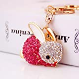 Jzcky Shzrp Cute Rabbit Shape Crystal Rhinestone Keychain Key Chain Sparkling Key Ring Charm Purse Pendant Handbag Bag Decoration Holiday Gift(Pink)